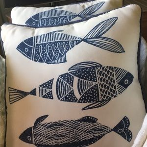 Pair of Cute Indoor/Outdoor Fish Pillows GUC